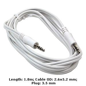 AMZER 3.5mm Male to 3.5mm Male Audio Cable - White