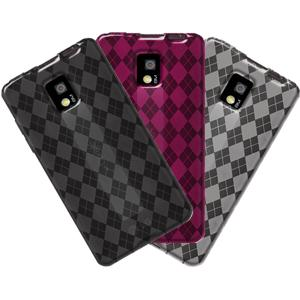 AMZER Skinny Set of 3 Luxe Argyle High Gloss TPU Case for LG Optimus 2X P990