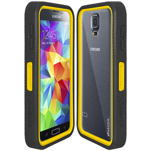 AMZER CRUSTA Rugged Case Black on Yellow Shell Tempered Glass with Holster for O2 Samsung GALAXY S5 SM-G900