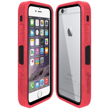 Load image into Gallery viewer, Amzer CRUSTA™ Rugged Case Pale Red on Black Shell with Tempered Glass for iPhone 6s, iPhone 6