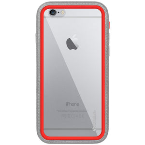 Amzer CRUSTA™ Rugged Case Grey on Red Shell With Tempered Glass for iPhone 6s Plus, iPhone 6 Plus