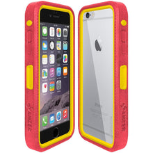 Load image into Gallery viewer, Amzer CRUSTA™ Rugged Case Pale Red on Yellow Shell With Tempered Glass for iPhone 6s Plus, iPhone 6 Plus