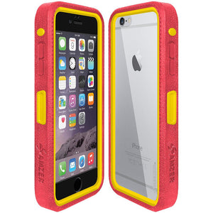 Amzer CRUSTA™ Rugged Case Pale Red on Yellow Shell With Tempered Glass for iPhone 6s Plus, iPhone 6 Plus