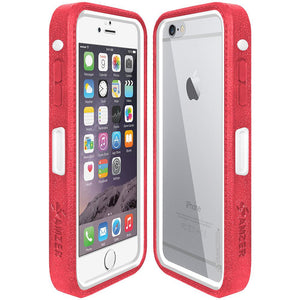 Amzer CRUSTA™ Rugged Case Pale Red on White Shell With Tempered Glass for iPhone 6s Plus, iPhone 6 Plus