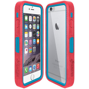 Amzer CRUSTA™ Rugged Case Pale Red on Blue Shell with Tempered Glass for iPhone 6s, iPhone 6