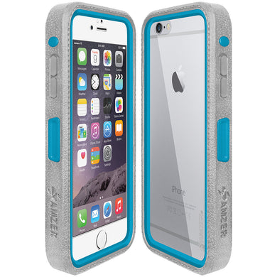 AMZER CRUSTA Rugged Case Grey on Blue Shell With Tempered Glass for iPhone 6 Plus