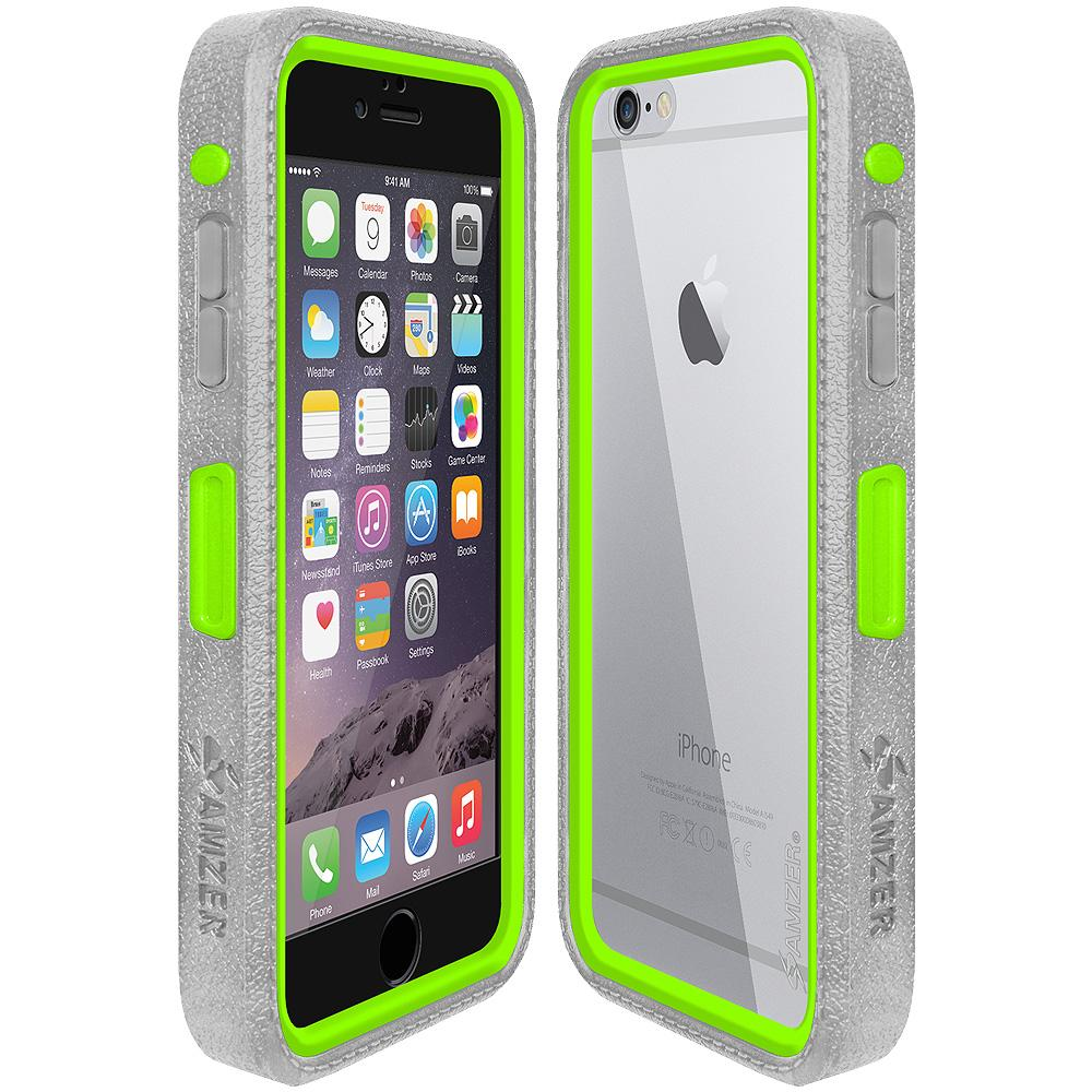 Amzer CRUSTA™ Rugged Case Grey on Green Shell With Tempered Glass for iPhone 6s Plus, iPhone 6 Plus