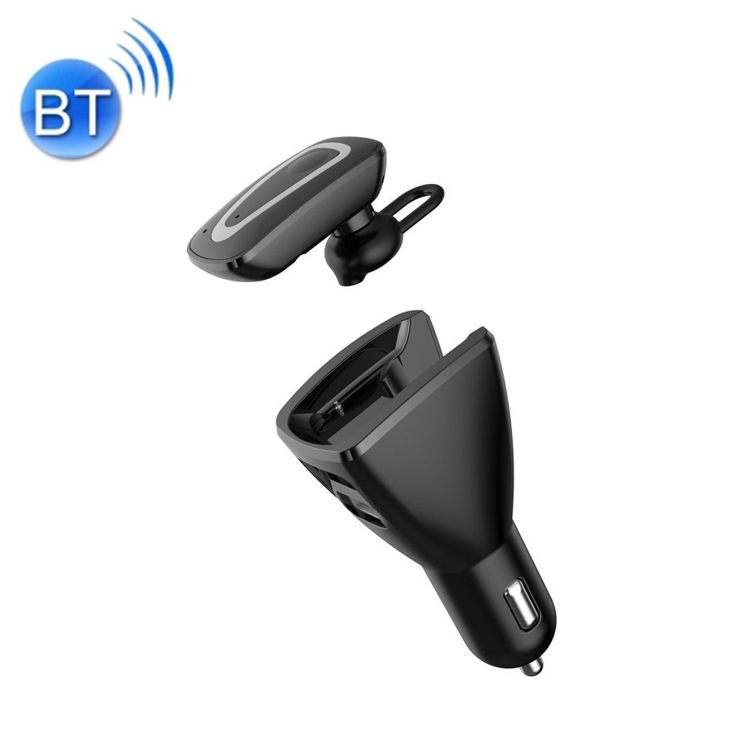 2 in 1 Bluetooth Earphone Car Charger, Support Hands-free Call & Smartphones Double USB Charging Function (Black)