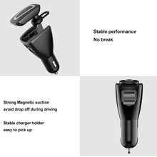 Load image into Gallery viewer, 2 in 1 Bluetooth Earphone Car Charger, Support Hands-free Call & Smartphones Double USB Charging Function (Black)