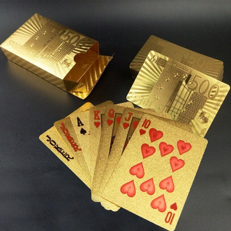 Creative Frosted Golden 500 Euro Back Texture Plastic From Vegas to Macau Playing Cards Texas Poker Novelty Collection Gift
