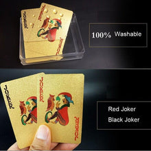 Load image into Gallery viewer, Creative Frosted Golden 100 Euro Back Texture Plastic From Vegas to Macau Playing Cards Texas Poker with Wooden Gift Box