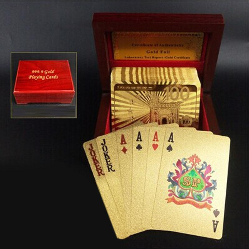 Creative Frosted Golden 100 Euro Back Texture Plastic From Vegas to Macau Playing Cards Texas Poker with Wooden Gift Box