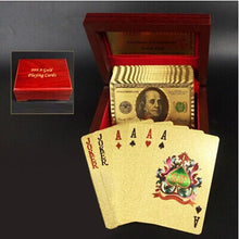 Load image into Gallery viewer, Creative Frosted Mosaic Gold Dollar Back Texture Plastic From Vegas to Macau Playing Cards Texas Poker with Wooden Gift Box