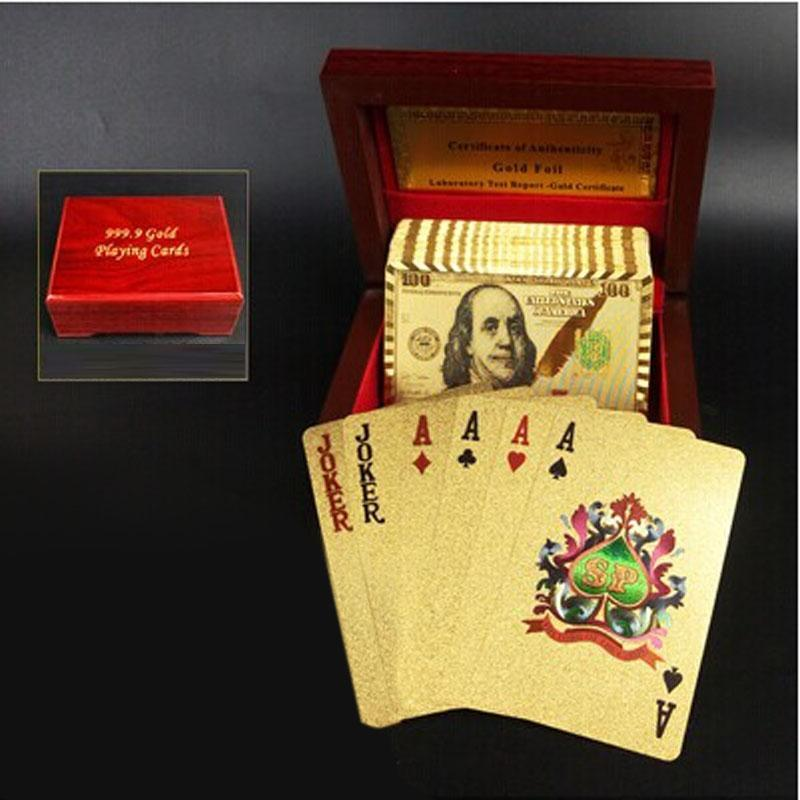 Creative Frosted Mosaic Gold New Dollar Back Texture Plastic From Vegas to Macau Playing Cards Texas Poker with Wooden Gift Box