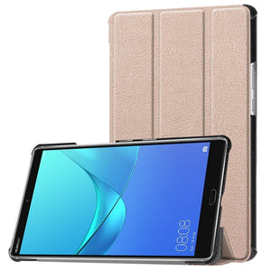 "AMZER Tri-Fold Flip PU Leather Case with Holder & Sleep/Wake-up For Huawei MediaPad M5 8.4"" - Gold"