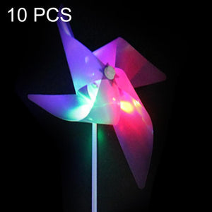 10 PCS LED Luminous Four-leaf Windmill Children Plastic Toy Windmill, Random Color Delivery