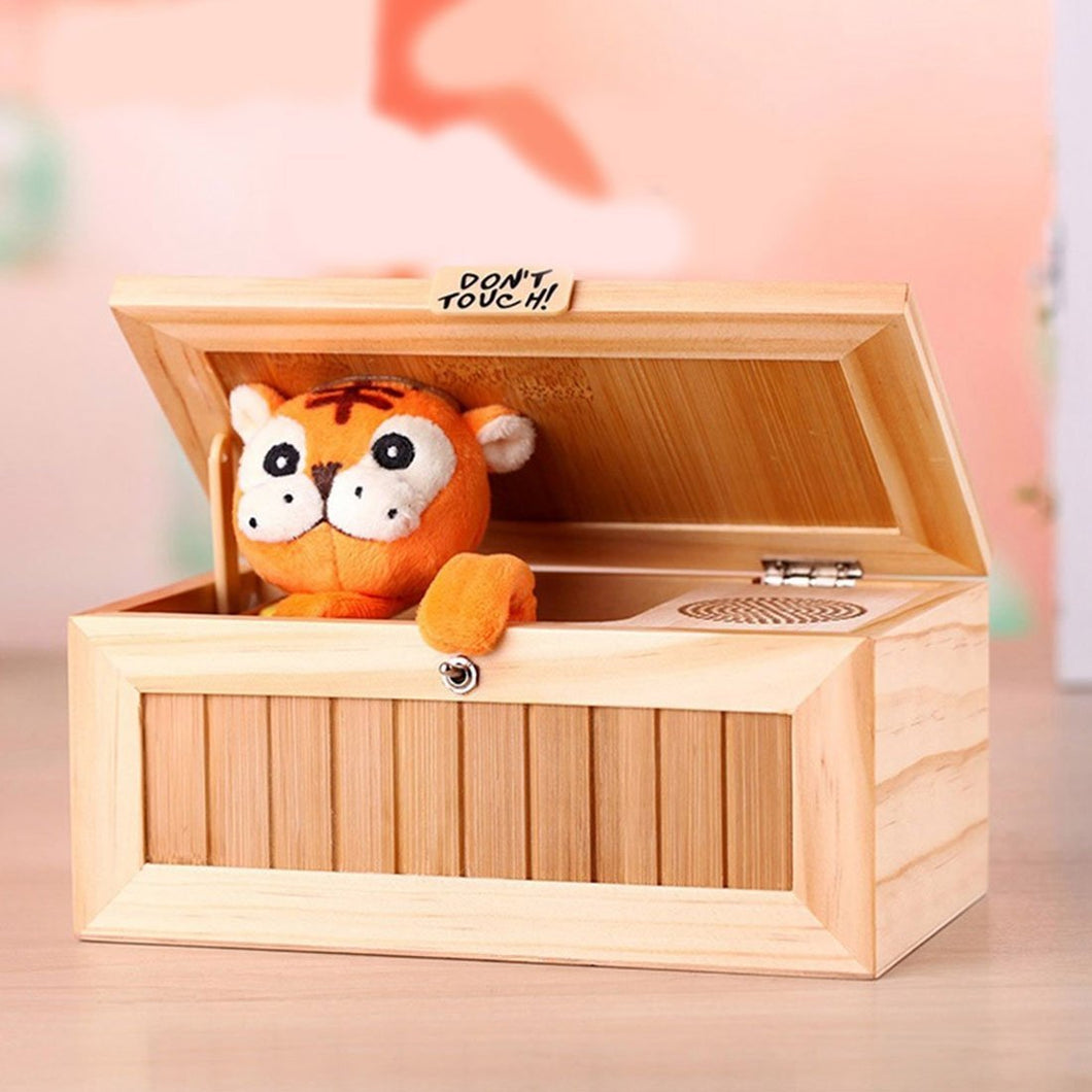 Creative Cute Tiger Funny Present Sound Version Wooden Electronic Useless Box Novel Stress-Reduction Desk Decoration, Size: 19.2*8.5*11cm