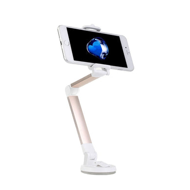 Universal Aluminum Alloy 360 Degree Rotation Foldable Adjustable Desk / Car Cup Holder Stand, for iPhone, Samsung, Lenovo, Sony, HTC, LG, Huawei and other Smartphones(Gold)