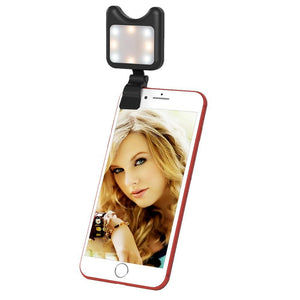 Universal Phone Camera Lens Selfie LED Fill Light with Clip, For iPhone, Samsung, Huawei, Xiaomi, HTC and Other Smartphones(Black)