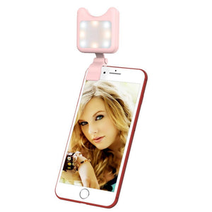 Universal Phone Camera Lens Selfie LED Fill Light with Clip, For iPhone, Samsung, Huawei, Xiaomi, HTC and Other Smartphones(Pink)