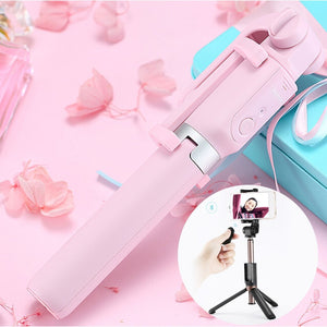 2 in 1 Multi-functional Bluetooth Wireless Selfie Stick Selfie Tripod with Remote Control(Pink)