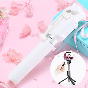 2 in 1 Multi-functional Bluetooth Wireless Selfie Stick Selfie Tripod with Remote Control(White)