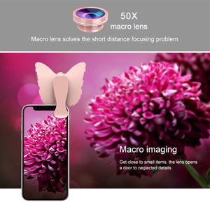 126-LED 9 Levels Selfie Clip Fill Light with 3 in 1 Fisheye / Wide Angle / Macro Lens, Compatible with IOS and Android, for Live Broadcast, Live Stream, Beauty Selfie, etc (Pink)