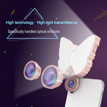 Load image into Gallery viewer, 126-LED 9 Levels Selfie Clip Fill Light with 3 in 1 Fisheye / Wide Angle / Macro Lens, Compatible with IOS and Android, for Live Broadcast, Live Stream, Beauty Selfie, etc (Pink)