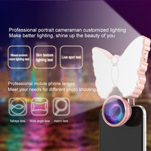 Load image into Gallery viewer, 126-LED 9 Levels Selfie Clip Fill Light with 3 in 1 Fisheye / Wide Angle / Macro Lens, Compatible with IOS and Android, for Live Broadcast, Live Stream, Beauty Selfie, etc (Green)