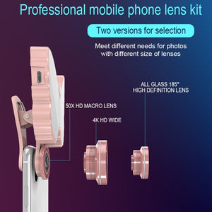 126-LED 9 Levels Selfie Clip Fill Light with 3 in 1 Fisheye / Wide Angle / Macro Lens, Compatible with IOS and Android, for Live Broadcast, Live Stream, Beauty Selfie, etc (White)