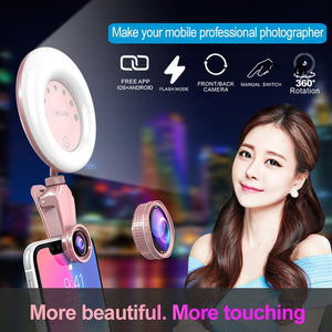 52-LED Touch Sensor APP Control Selfie Clip Flash Fill Light with HD 4K Wide Angle / 20X Macro Lens, For Live Broadcast, Live Stream, Beauty Selfie, etc(Pink)
