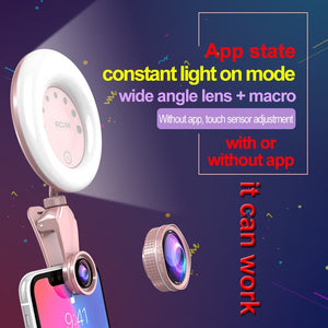 52-LED Touch Sensor APP Control Selfie Clip Flash Fill Light with HD 4K Wide Angle / 20X Macro Lens, For Live Broadcast, Live Stream, Beauty Selfie, etc(Green)