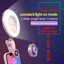 Load image into Gallery viewer, 52-LED Touch Sensor APP Control Selfie Clip Flash Fill Light with HD 4K Wide Angle / 20X Macro Lens, For Live Broadcast, Live Stream, Beauty Selfie, etc(Rose Gold)