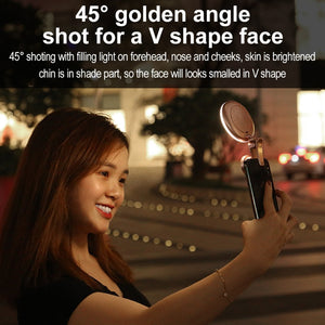 52-LED Touch Sensor APP Control Selfie Clip Flash Fill Light with HD 4K Wide Angle / 20X Macro Lens, For Live Broadcast, Live Stream, Beauty Selfie, etc(Rose Gold)