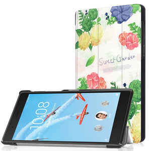 AMZER 3-Fold Floral Flip PU Leather Case with Holder For Lenovo Tab 4/7 TB-7504F TB-7504N TB-7504X