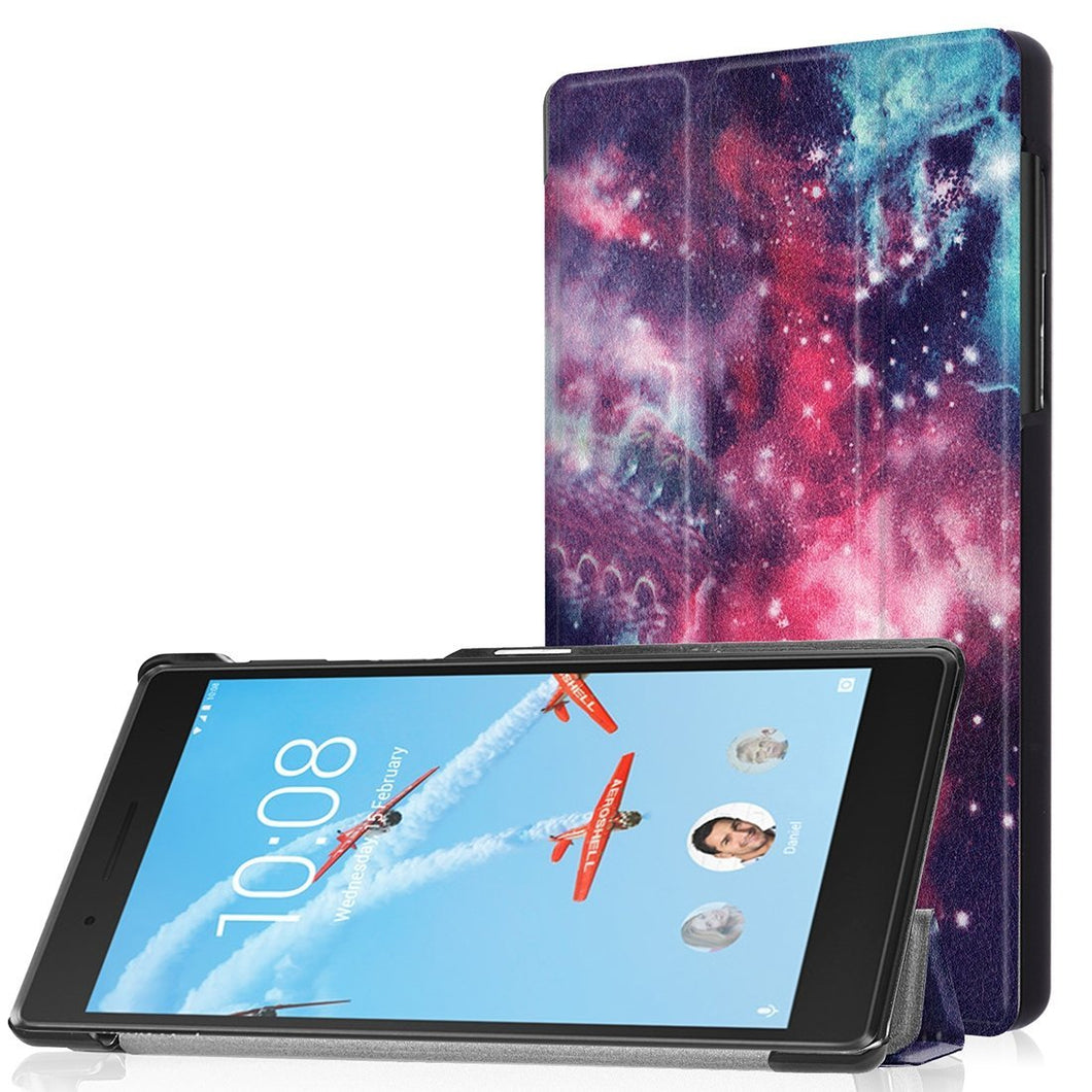 AMZER 3-Fold Cosmic Galaxy Flip PU Leather Case Holder For Lenovo Tab 4/7 TB-7504F TB-7504N TB-7504X