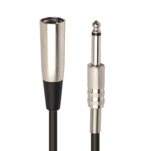 XLR 3-Pin Male to 1/4 inch (6.35mm) XLR Female Plug Stereo Microphone Audio Cord Cable - 30cm