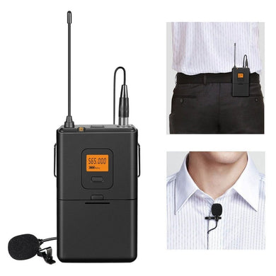 U Segment Selectable 20-channel Wireless Lavalier Microphone for Live Broadcast, Show, KTV, etc , Compatible with Notebook, PC, Speaker, Headphone, iPad, iPhone, Galaxy, Huawei, Xiaomi, LG, HTC and Other Smart Phones