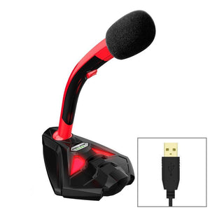 Desktop Omnidirectional USB Wired Mic Condenser Microphone with Phone Holder, Compatible with PC / Mac for Live Broadcast, Show, KTV, etc(Black + Red)