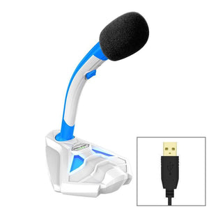 Desktop Omnidirectional USB Wired Mic Condenser Microphone with Phone Holder, Compatible with PC / Mac for Live Broadcast, Show, KTV, etc(White + Blue)