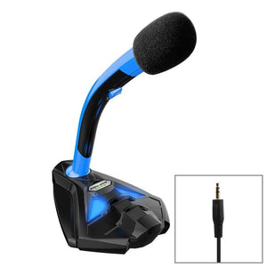 Desktop Omnidirectional 3.5mm Plug Wired Mic Condenser Microphone with Phone Holder, Compatible with PC / Mac for Live Broadcast, Show, KTV, etc(Black + Blue)