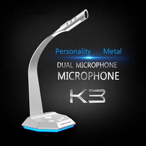 Desktop Omnidirectional USB Wired Dual Mic Condenser Microphone with LED Night Light, Compatible with PC / Mac for Live Broadcast, Show, KTV, etc (Silver)