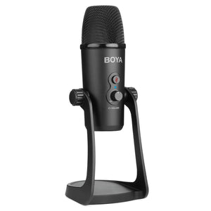 USB Sound Recording Condenser Microphone with Holder, Compatible with PC / Mac for Live Broadcast Show, KTV, etc. (Black)