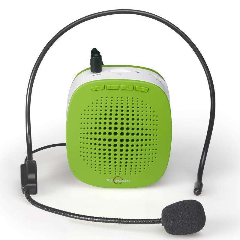 5W Multi-function Portable Little Bee Voice Amplifier Speaker with Wired Microphone for Teacher / Tourist Guide, Support TF Card & Audio Input Function(Green)