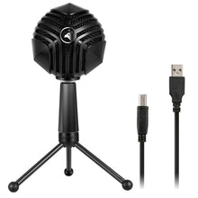 Load image into Gallery viewer, 360 Degree Rotation Wired USB Microphone Mic with Tripod, Compatible with PC / Mac for Live Broadcast, Show, KTV, etc.(Black)
