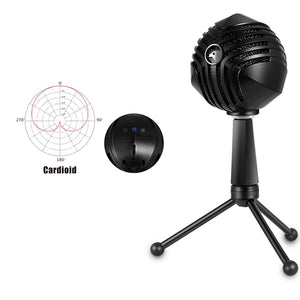 360 Degree Rotation Wired USB Microphone Mic with Tripod, Compatible with PC / Mac for Live Broadcast, Show, KTV, etc.(Black)