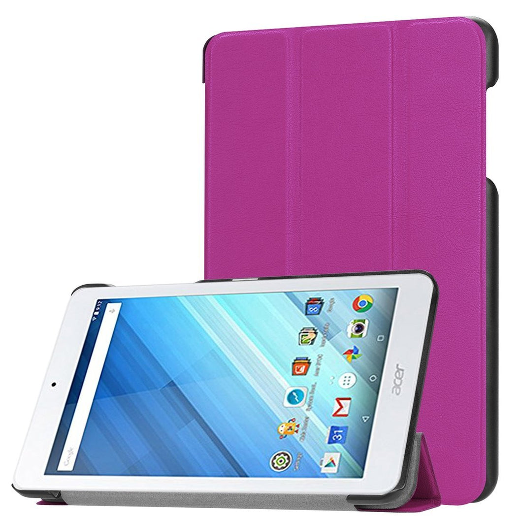 AMZER 3-Fold Horizontal Flip PU Leather Case with Holder For Acer Iconia One 8 B1-860 Tablet -Purple