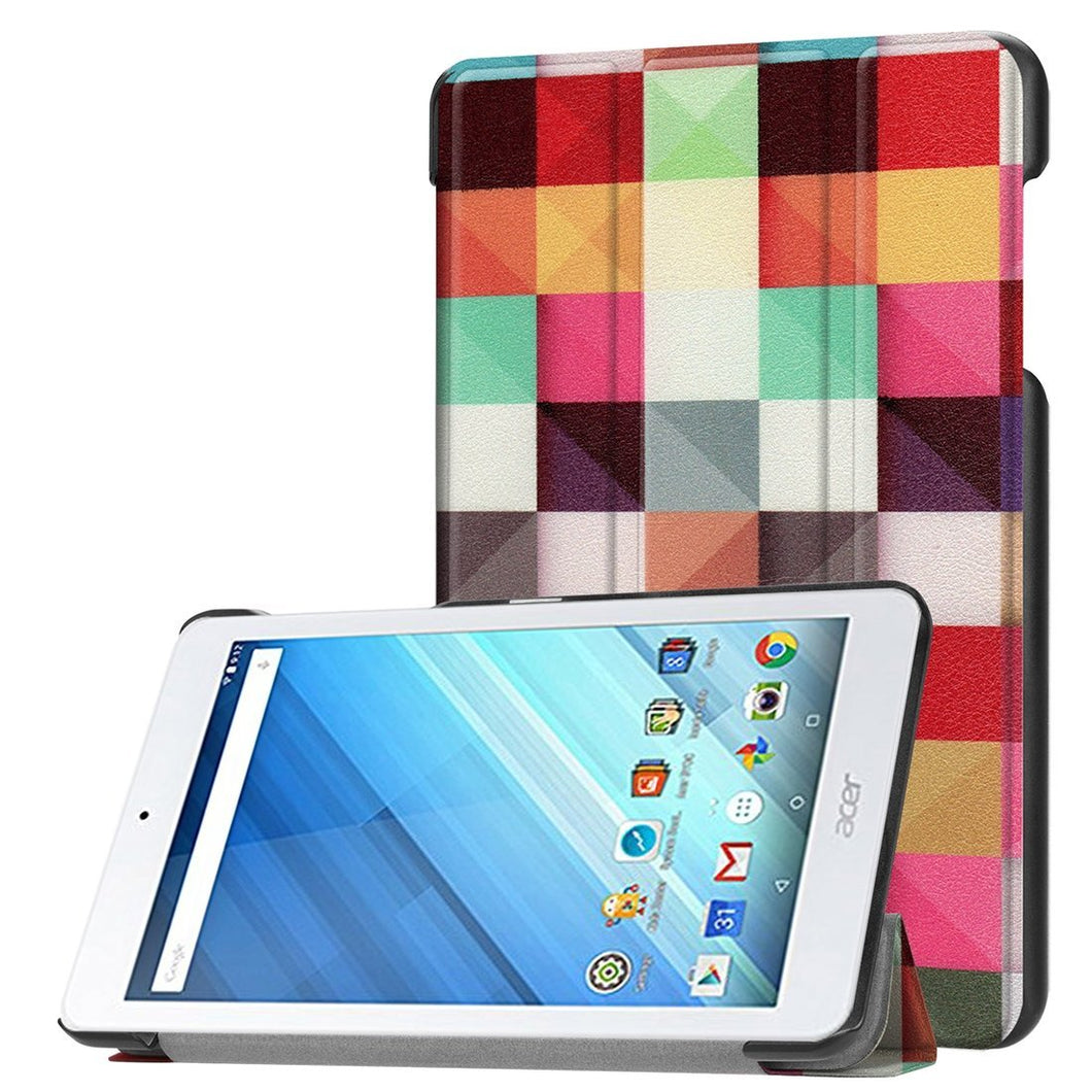 AMZER 3-Fold Colorful Magic Cube Flip PU Leather Case with Holder For Acer Iconia One 8 B1-860 Tab