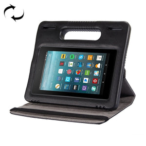 360° Rotation Leather Case Bumper Cover Handle & Holder For Amazon Kindle Fire 7 2015 2017 - Black