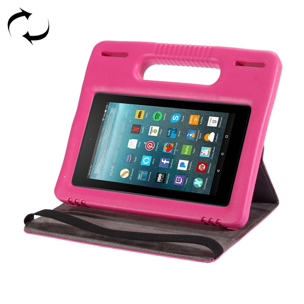AMZER 360° Flip Leather Case Bumper Handle Cover Stand For Amazon Kindle Fire 7 2015 2017 - Magenta